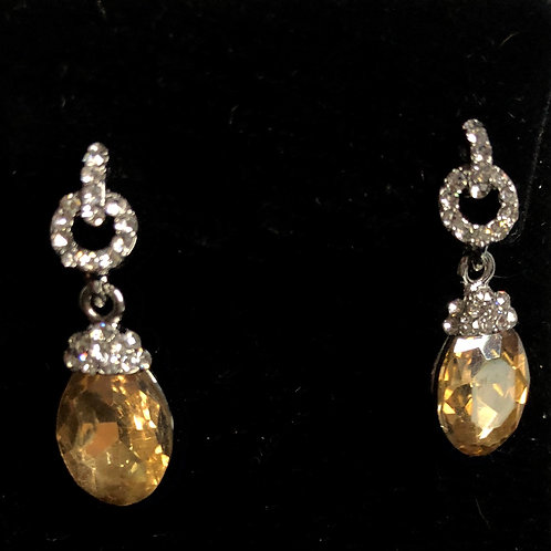 Champagne and clear drop pierced earrings
