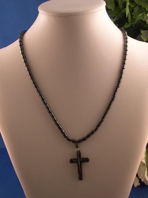 Hematite cross necklace - unisex