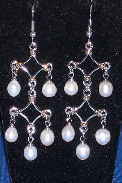 Tiered silver and gold freshwater pearl earrings