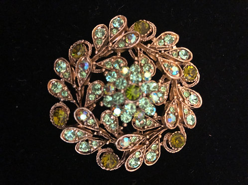 Gold and spring green round Austrian crystal brooch