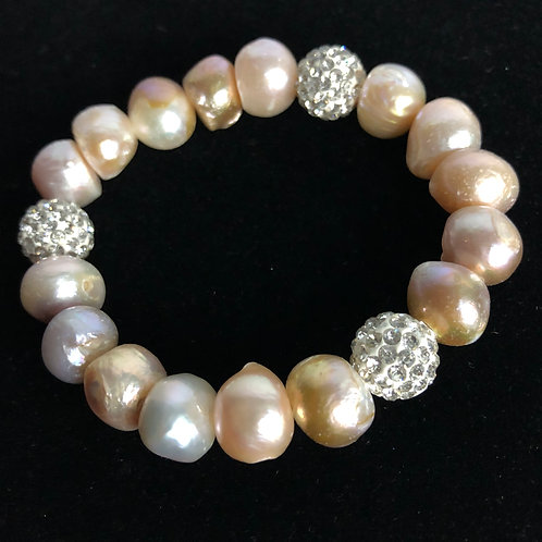 Light PINK Freshwater pearls with clear crystals