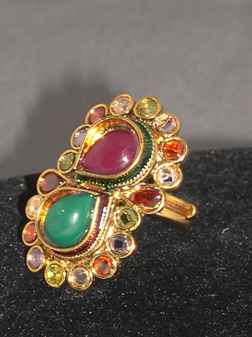Indian ring in gemstones