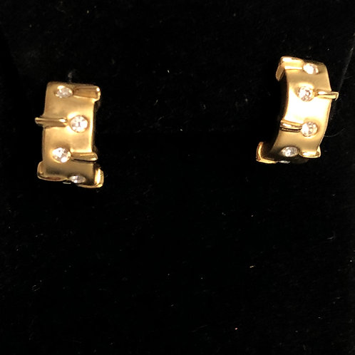 Gold finish with clear crystals in huggie design pierced earring