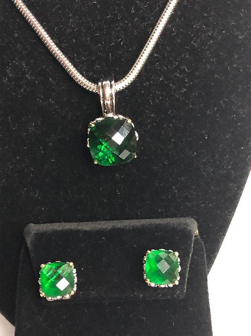Designer look Green pendant & Lever Back Earrings