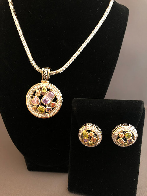 Designer look Multi Colored pendant & Lever Back Earrings