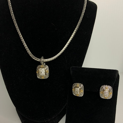 Designer  Two Tone pendant on Magnet chain with earrings
