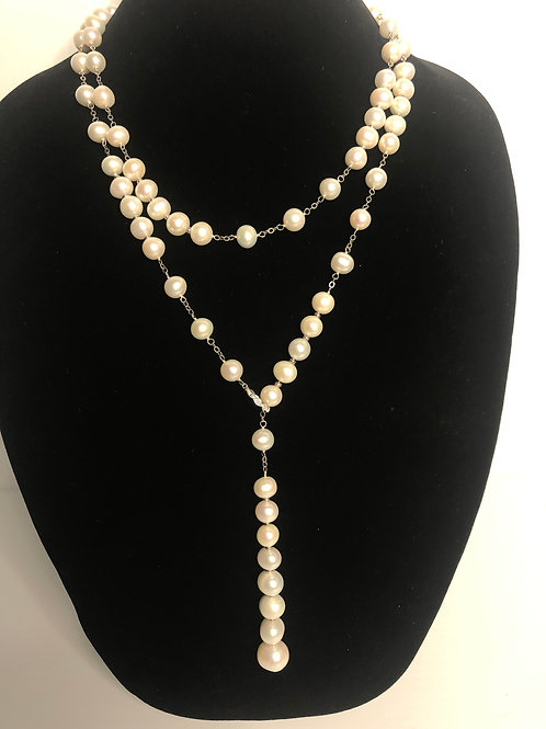 Long white Freshwater Cultured pearl necklace in sterling silver