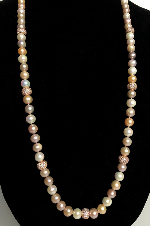 Long peach, pink and white Freshwater Cultured pearl necklace