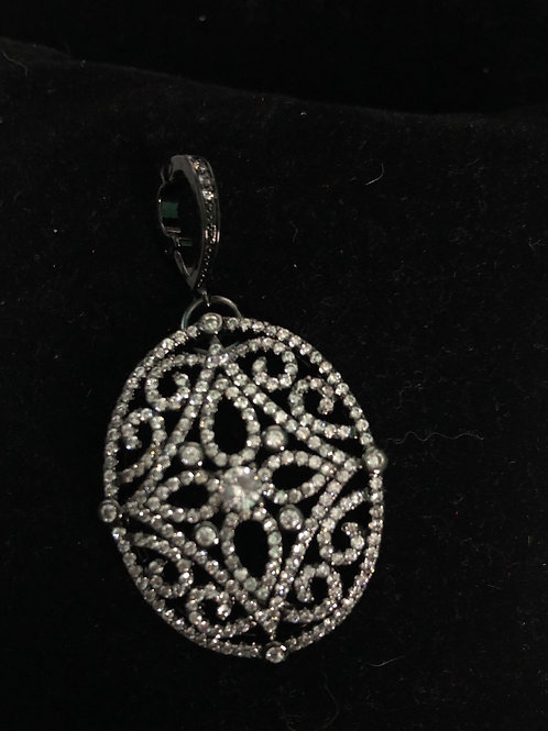 Oval BLACKdecorative enhancer encrusted in Austrian crystals