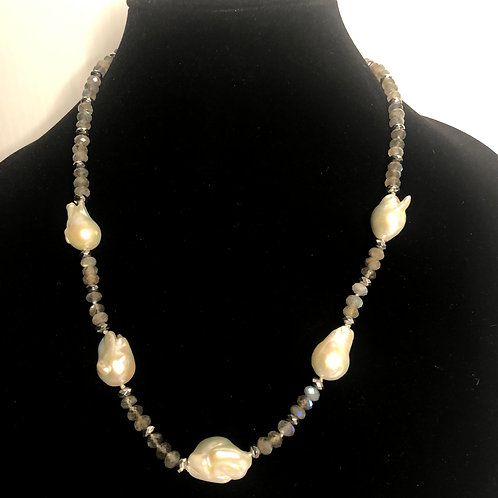 Gray natural stones with large FWP baroque pearls