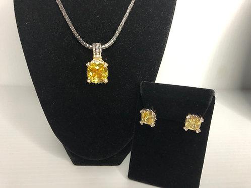 Designer look Canary Diamond pendant & Lever Back Earrings