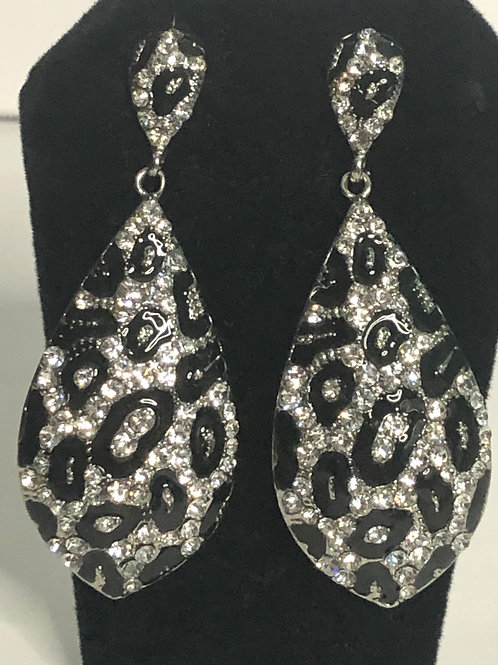 Animal print crystal pierced earring