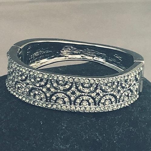 Designer look Black hinged bracelet with Austrian crystals