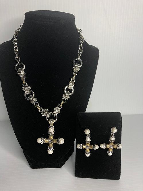 Designer  Two Tone  Cross necklace & matching pierced earrings
