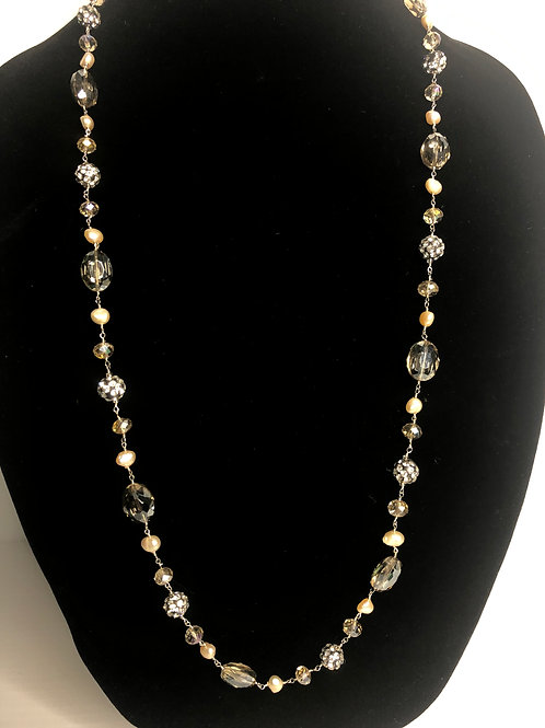 Long white FWP necklace gallery wrapped with crystals