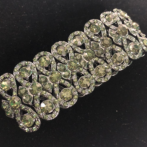 Swirl design in elastic BLACK Austrian crystal bracelet