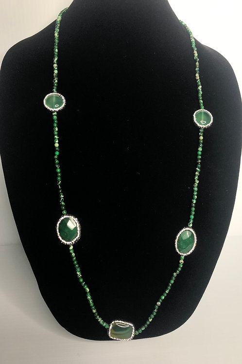 Green long necklace with Green oval decorative pieces