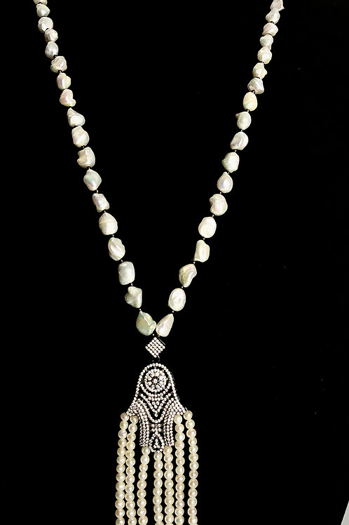 "Long white FWP tassel ""HAMSA"" hand necklace"