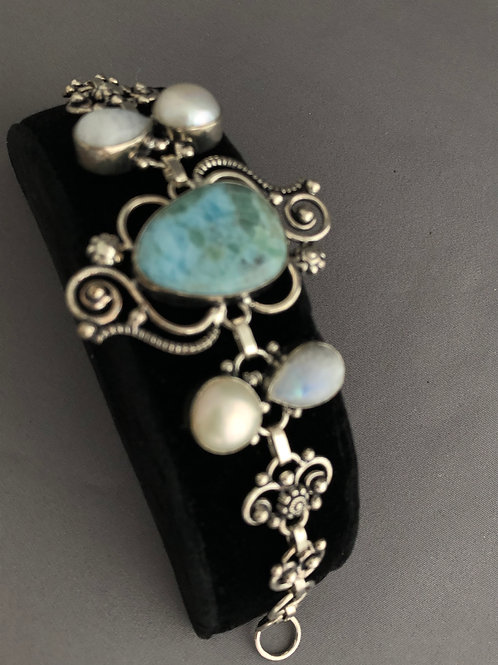 Sterling silver, Larimar and White freshwater pearl toggle bracelet