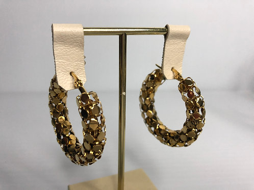 Medium stainless gold stainless steel textured hoop earring