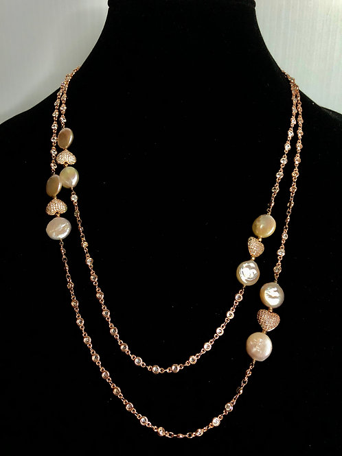 Long rose gold diamond by the chain bezeled necklace