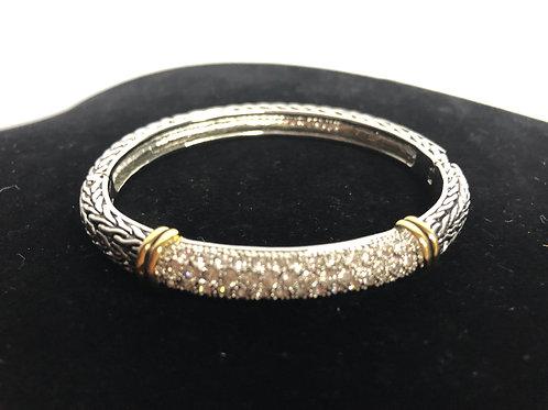 Thinner style designer two tone bracelet with Swarovski crystals