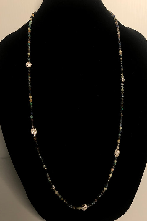 Multi colored wood beaded necklace with S/S decorative beads