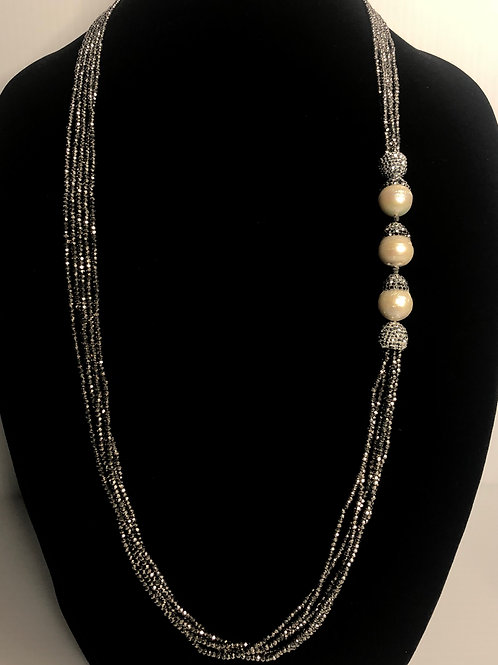 Multi strand gray crystals with large white FWP baroque pearls