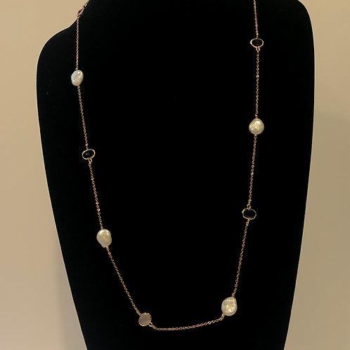 Long Designer necklace in ROSE GOLDand Freshwater pearls