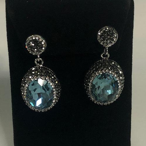 Blue Green and silver oval shaped pierced earrings
