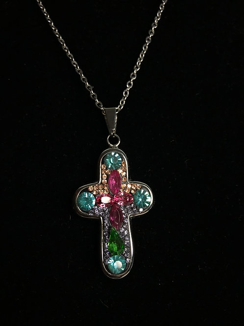 Swarovski multi colored crystal cross on stainless steel chain