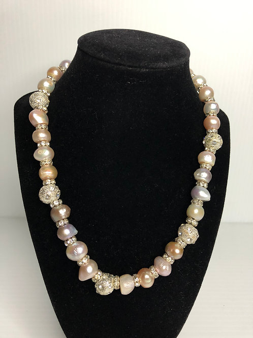 Single strand FWP PINK pearl necklace with large crystal balls
