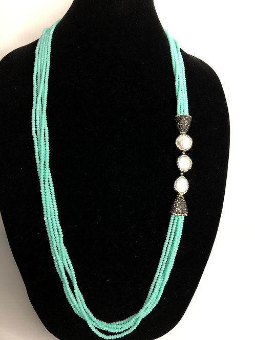 Multi strand turquoise Czech crystals with white  Freshwater Cultured coin pearl