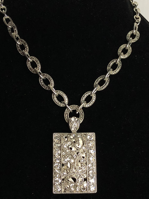 Designer RECTANGULARshaped pendant with adjustable clasp