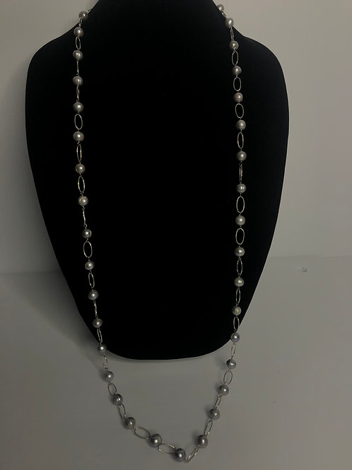 Long light gray FWP pearl necklace in sterling silver