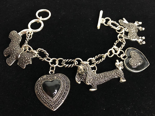 Various dog charm bracelet with toggle clasp