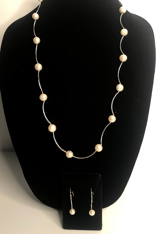 Long S/S bar necklace and pierced earring set in white FWP