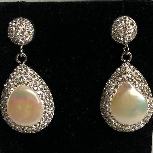 Large teardrop White FWP earrings encased in silver Swarovski