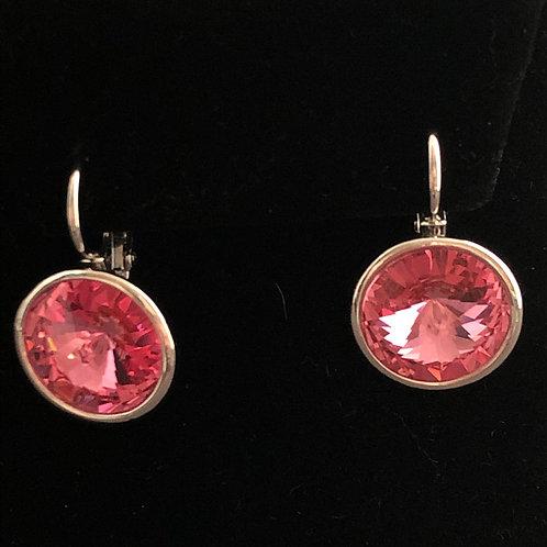 Swarovski crystal lever back earrings -PINK