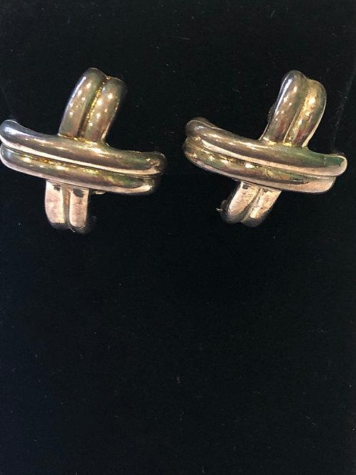 "Silver ""X"" designer look clip on earrings"