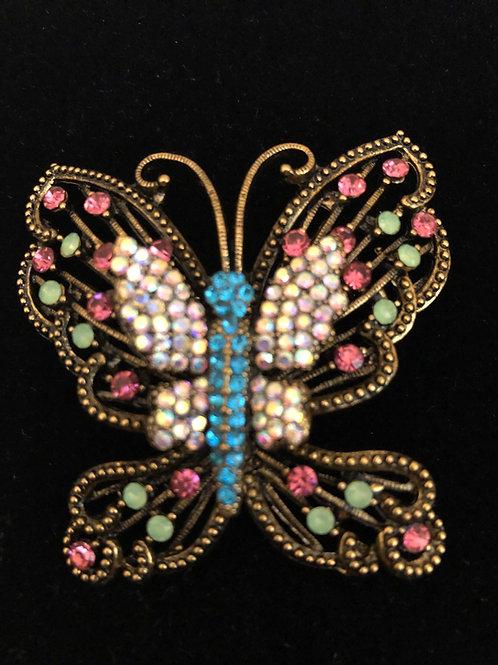 Multi color Austrian crystal butterfly brooch