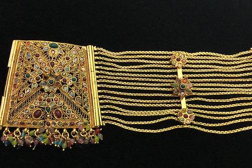 Indian bracelet w/rubies, jade, pearls & semi-precious gemstones