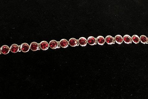 Swarovski crystal round line bracelet - RED