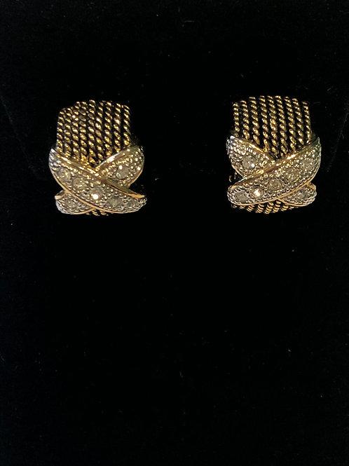 "Gold ""X"" designer look clip-on earring"