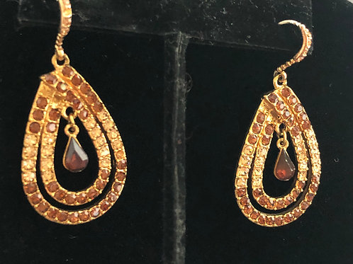 Gold and champagne crystal pierced hook earring