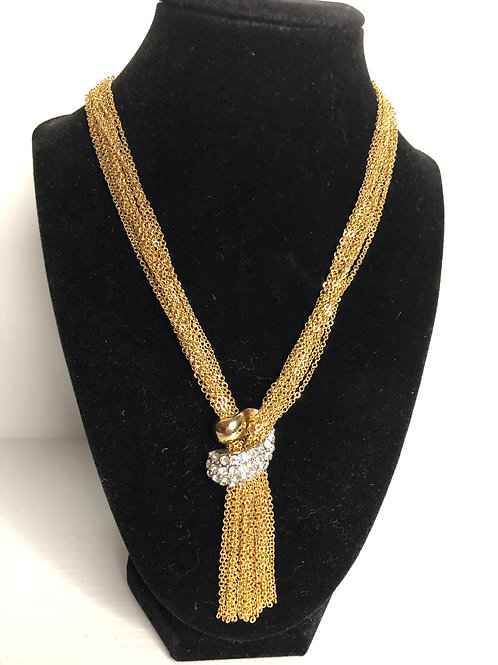 """Gold strands in """"Y"""" drop necklace with clear crystals"""