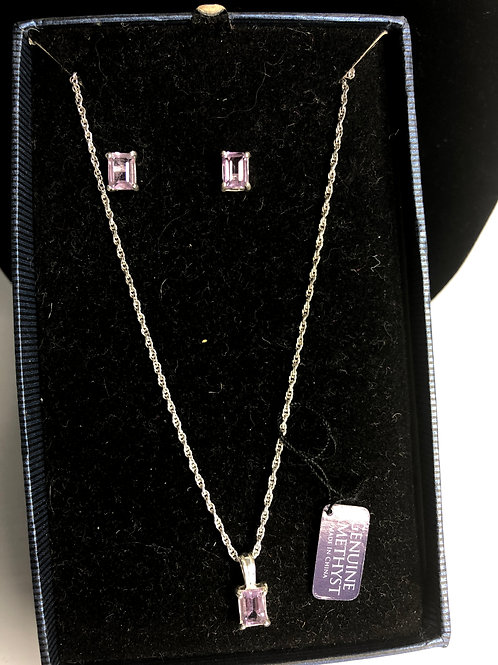 Sterling silver amethyst rectangular pendant with earrings