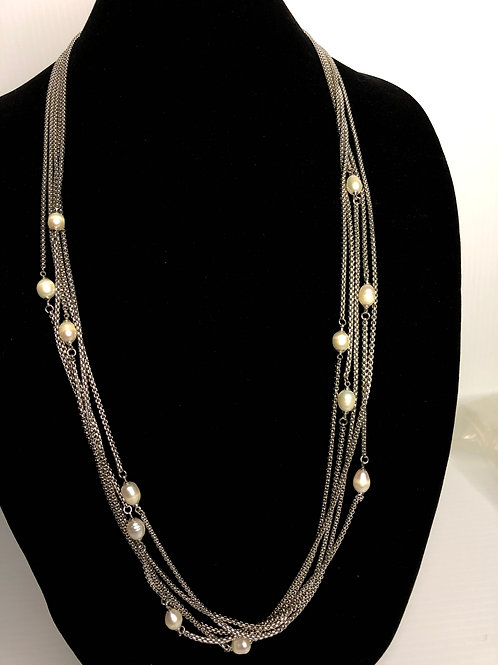 Multi strand long toggle necklace with white FWP