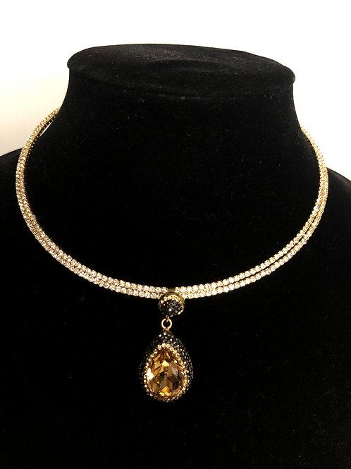 Gold Austrian crystal choker with tear drop shaped pendant