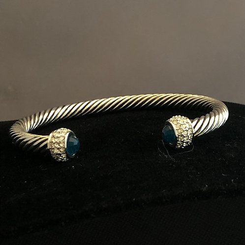 Designer look TWO TONE cable bracelet in cubic zircon